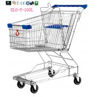 China Food Environmental Stainless Steel Metal Wire Shopping Trolley Carts 100L wholesale
