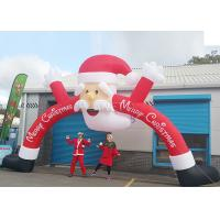 China Santa Claus Christmas Inflatable Archway 210 D Oxford Cloth For Outdoor Event on sale