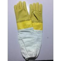 China Goat Skin Yellow Bee Gloves Smoothy Leather Wrist Protector White Cloth Sleeve wholesale