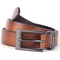 China 30MM Prong Buckle Metal Keep Real Leather Belt In  Brown Two Tone Color wholesale