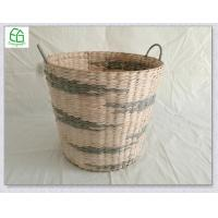 China Hand woven rush&paper round storage basket, waste basket, with hanle ,natrual , grey, black color wholesale