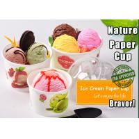 China Green / White Disposable Ice Cream Bowls PE Coated With Wavy Pattern on sale