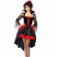 China Deluxe Flower Lace Witch Halloween Costume with Hat, More Styles Available, Made of Acrylic/Spandex wholesale