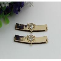 China Good quality leather bag accessories frame 62 mm light gold metal corner protector with diamond decorative wholesale