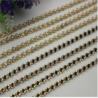 China Refined custom bag fitting pearl decorative 6 mm width light gold chain for crossbody bag wholesale