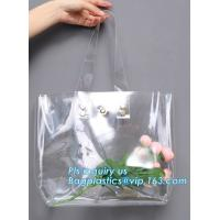 China Eco-friendly washable kraft paper with PVC handle bag for women, Die cut handle soft PVC packaging bags for tool, handy on sale