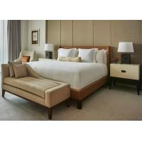 Brown Leather Motel 6 Hotel King Bed Furniture , Fabric Bench Manufactures