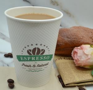 China 12oz 9g FDA Coffee Insulated Milk Tea Corn Grain Disposable Paper Cup wholesale