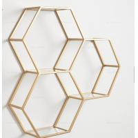 China Living Room Wall Decoration Gold Metal Frame Wall Shelving Unit Geometry Set metal round shape Wall Shelf wholesale