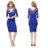China 2015 New Sexy A Skinny Dress Double V- neck Lace Evening / Cocktail Dress wholesale
