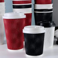 China Black 8oz 12oz 16oz Paper Coffee Cups , Ripple Striped Corrugated Recyclable Paper Cups on sale