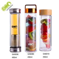 China Eco friendly 450ml double wall glass infuser drinking bottle with bamboo lid wholesale
