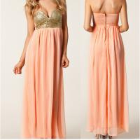 China Wipes Bosom Strapless Yellow Sequin Long Chiffon Sexy Women Evening Gown wholesale