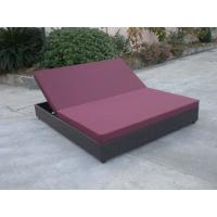 China Outdoor Rattan Material Chaise Lounge Daybed In Double,Cushion Cover With Adjustable Back wholesale