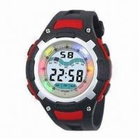 China Multifunction Wristwatch with Plastic Strap, ABS Case, CR2032 Battery and Revolving LED Lights wholesale