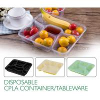 China Disposable corn starch plates biodegradable corn starch food container, Disposable PLA Serving Divided Lunch Tray wholesale