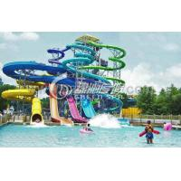 China Family Open Spiral Slide Water Park Equipment , Blue Red Green Fiberglass Spiral Water Slide on sale