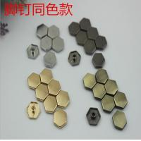 China Super cheaper factory price bag fitting small flat six-sided nickel color metal buckles and rivets wholesale