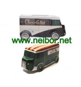 China Custom design special shape tin toy tin car tin truck tin van  cookie box chocolate box wholesale