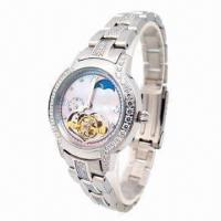 China Ladies' Stainless Steel Watch with Stone on Case, 5ATM Waterproof wholesale