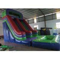 China Dark Green Large Commercial Inflatable Water Slides / Bounce House With Slide on sale