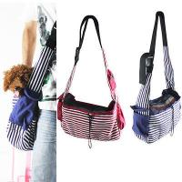 China Striped Canvas Sling Bag Pet Carrier For Dog/Cat Travel Bag Red,Blue wholesale