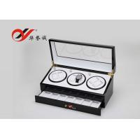 China Modern Style 3 Watch Packaging Box Luxury Lacquer Wood Material With Drawer wholesale