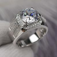 China Round Cut Shape Moissanite Engagement Rings Super White Color For Male wholesale