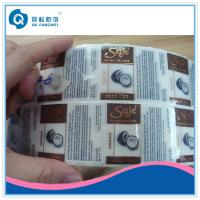 China Self Adhesive Plastic Labels For Makeup / Cosmetic Transparent Sticker With Copper Stamping Foil wholesale