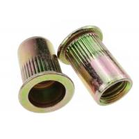 China M3 - M12 Blind Flat Head Rivet Nut Knurled Carbon Steel Yellow Zinc Plated on sale