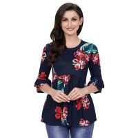 China Women Fasion 2018 New Arrival Woman Top Belled Sleeve Shirts Floral Casual Tops wholesale