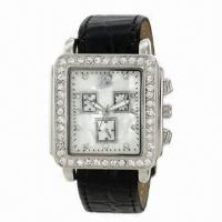 China Jewelry leather wristwatch with CZ stone on bezel, interchangeable leather strap, mix color order wholesale