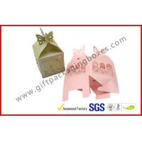 China Texture Customized  250G Peral Paper Gift Chocolate Packaging Boxes , Wedding Favor Boxes With Ribbons wholesale