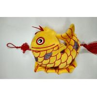 China Flocking Cloth The Auspicious Yellow Carp with Chinese Knot Custom Promotional Toys wholesale