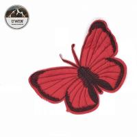China Red Butterfly Sew On Embroidered Patches Customized Size For Hats / Shoes wholesale