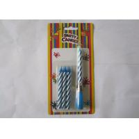 China Blue Striped Birthday Musical Candle Singing Song For Christmas Party Decorations wholesale