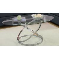 China Home Modern Glass Bar Table , Glass Metal Round Extending Dining Table wholesale
