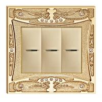 China 24K Gold Plated Finish Forged Brass Wall Switch With Pattern and Diamond on sale