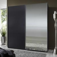 China Elegant High Gloss Bedroom Furniture With Half Mirror Soft Sliding Door Wardrobe wholesale