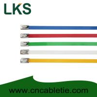 China 4.6*150mm 201,304,316 grade epoxy polyester coated Ball-lock stainless steel cable ties on sale