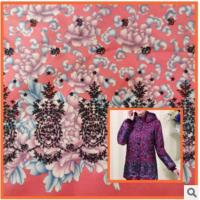 China Middle-aged cotton jacket,Printed cotton fabric coat mother dress fabric peonies wholesale