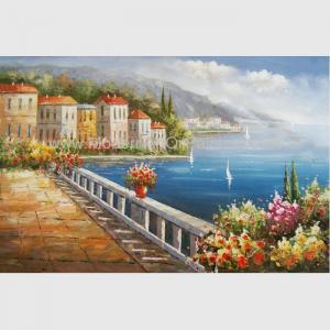 Buy cheap European Mediterranean Oil Painting , Handmade Canvas Flower Garden Oil Painting from wholesalers