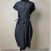 China Elegant Loose Fit Navy Blue Knee Length Dress Anti Wrinkle With Shell Belt on sale