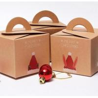 China Recycling Brown Kraft Christmas Paper Box Gift Packaging Box With Handle wholesale