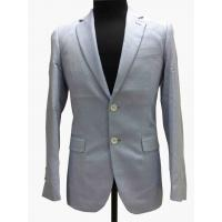Light Gray Tailored Mens Tight Fit Suits Serge Pattern Flaps Pockets Formal Wear