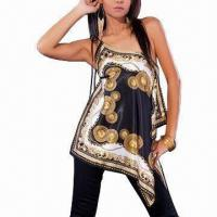 China Women's 100% Polyester Tank Top, Available in 10, 12, 14, and 16 Sizes on sale