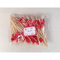 China Red Heart Bamboo Cocktail Picks Wood Beads Skewers Muddler Drink Stirrers Fruit Toothpicks Sticks Party Bar Supplies Lov wholesale
