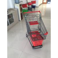 China Grey Powder Coating Grocery Trolley Cart , Large Capacity Shopping Trolley 4 Inch PU Casters wholesale