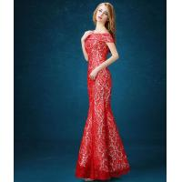 China Unique one word girls Evening Party Dresses / prom dresses with long trains LXYWQ-1220 wholesale