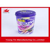 China Egg Rolls Packaging Round Cylinder Gift Tin Box Custom Artwork CMYK Printed wholesale